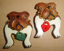 BULLDOG PAIR OF BAKELITE WOOD PINS FRENCH W DOG TAGS OLD VINTAGE RETRO BEST!