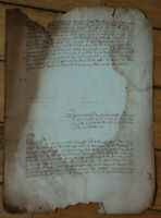 1557 LARGE manuscript DAMAGED BURNED medieval oncial calligraphy VERY NICE