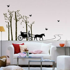 815 | Wall Stickers Horse Cart with Trees & Birds