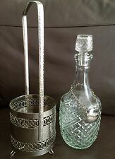 Antique English Edwardian Pressed Glass Decanter In Ornate Silver Plated Holder