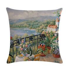 Home Textiles Oil Painting Series Pillow Case Linen Cushion Cover Pillowcase Qk