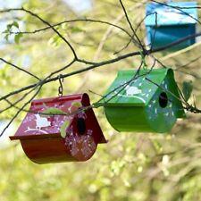 More details for nkuku eva fair trade artisan hand painted enamelware birdhouse bird house red
