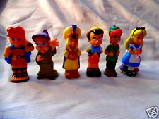 Vintage DISNEY CHARACTERS Rubber Figurine Toys (Set of 6)