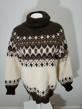 Vtg Runox Scandanavia Womens 48 Denmark LS Nordic Wool Turtleneck Sweater