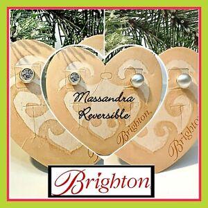 Brighton Massandra Crystal & Pearl Brush Silver Rever Post Earrings JE9791
