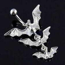 Eye-Catching Gothic Flying Bats Dangle Bar Belly Navel Button Body Piercing Ring