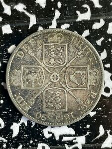 1890 Great Britain Double Florin Lot#X4356 Large Silver Coin! Obverse Scratch
