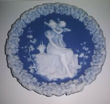 Wedgwood Queensware Embossed Figures & Accents Applied Ivory on Blue Plate