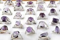 Wholesale Jewelry 5Pcs Bulk Amethyst Gemstone Stone Silver Plated Rings 17-20mm