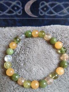 Irritable bowel syndrome crystal healing bead bracelet peridot,citrine, nephrite