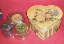 LANG Victorian Rose Candles in Glass Votives Box Set of 3 ~ NIB