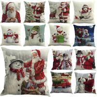 Xmas Cushion Cover Santa Claus Pattern Square Pillow Case Sofa Car Home Decor