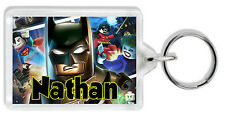 Personalised Lego Batman Keyring / Bag Tag - Add any name! *Great Gift!* Large