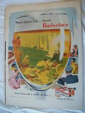 Vtg 1956 Orig Magazine Ad Where There's Life There's Budweiser Beer Sailing