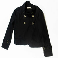 Michael Kors Black Cotton Gold Logo Buttons Cropped Double Breasted Trench Coat