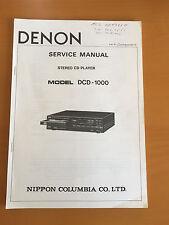 DENON DCD-1000 Stereo CD Player Service Manual - Factory Original