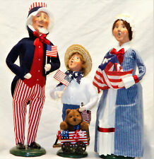 Byers Choice Uncle Sam Betsy Ross & Boy with Wagon Carolers - New Free Shipping