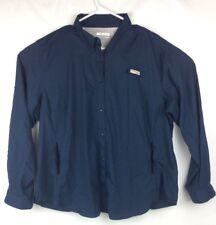 New listing Columbia Men's Ls Sportswear Company Fishing Shirt, Dark Blue, Net Back