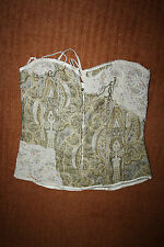 New Look Woman's Strapless Top Overbust Corset Floral Chains Perls Beige Size 10