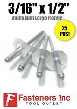 """(QTY 25) 3/16"""" Dia. x 1/2"""" Large Flange POP Rivets ALL Aluminium 6-8 ABA68LF"""