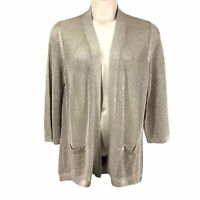 Chicos Travelers Womens Sweater 3 XL Gold Metallic Sparkle Open Front Cardigan