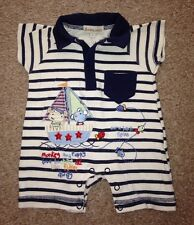 BABALUNO ~ Baby Boys Summer Romper Suit / All In One, Size Newborn (50cm)