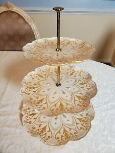 """3Tier Glass cake cupcake stand Gold & Ivory Color 15.5"""" Tall Very Good Condition"""