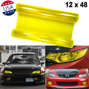 JDM Yellow Sporty Racing Tint Vinyl Film Trim Wrap for Headlight DRL Fog Light