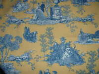 1.75 yds. Waverly HORSE-CARRIAGE Toile Blue Print on Yellow Home Decor Fabric