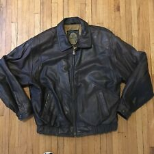 Vintage Members Only Brown Leather Bomber/Flight  Jacket Men's Xtra Large