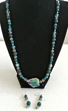 """22"""" Blue Beaded Necklace and Earrings Set - Lot H19"""
