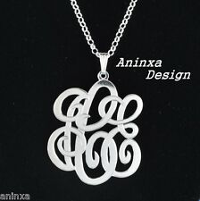 STERLING SILVER Personalized Monogram Large Size  Pendant  Any Three Initials
