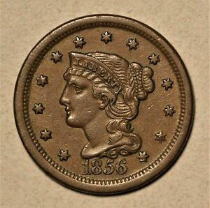 1856 Large Cent Slanted 5, XF+/AU Original Chocolate Brown  No Reserve