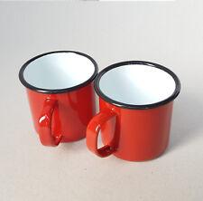 2 x Falcon Traditional Red Enamel Mug Half Pint Camping Mugs Cup