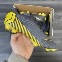 NIKE VAPOR 12 ELITE FG GREY YELLOW FOOTBALL ACC BOOTS UK10.5 EU45.5 US11.5