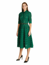 S'16 $3K+ ICONIC CHIC Oscar De La Renta eyelet/lace green shirt dress