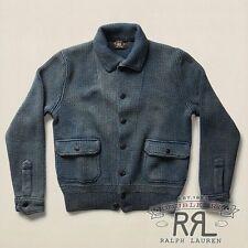 $695 RRL Ralph Lauren Vintage Faded Indigo Sweater Cardigan Jacket-MEN- XL