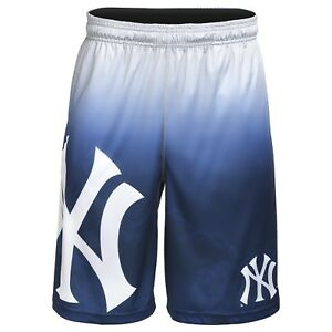 New York Yankees MLB Gradient Blue/Silver Big Logo Training Shorts FREE SHIP