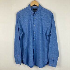 Zara Mens Button Up Shirt Size L Large Blue Floral Long Sleeve Slim 225.21