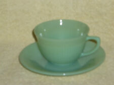 Fire King Jane Ray Jadeite Jadite Cup and Saucer Both Marked OVEN GLASS