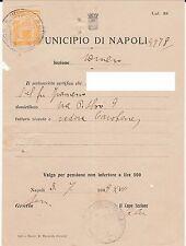 Antica marca amministrativa del Ventennio su documento di Napoli - 3/7/1939