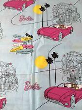 CRANSTON VILLAGE -2013 MATTEL - BARBIE COTTON FABRIC - BARBIE IN RED CAR