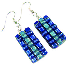 """DICHROIC Glass EARRINGS Blue Cobalt Navy Teal Dicro Striped Dangle Surgical 1"""""""