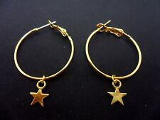 "A PAIR OF SIMPLE GOLD COLOUR 30MM  1"" HOOP & STAR  EARRINGS. NEW."