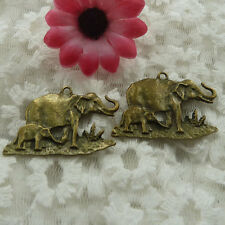 Free Ship 15 pieces bronze plated elephant pendant 38x35mm #716