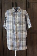 Joseph Abboud Mens XL Gray Cream Plaid 100% Linen Short Sleeve Button Down Shirt