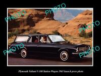 OLD LARGE HISTORIC PHOTO OF 1965 PLYMOUTH VALIANT V-100 S/W LAUNCH PRESS PHOTO