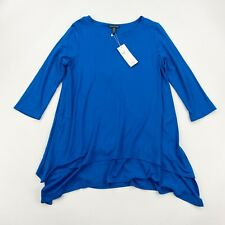 EILEEN FISHER Tunic S Small Jewel Neck 3/4 Sleeve Blue Viscose NWT - $148