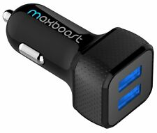 Car Charger USB Duel Smart Port Maxboost Phone Charger For Samsung Iphone Black
