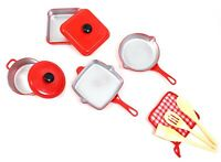 10 Piece Pots and Pans Kitchen Cookware Play set for Kids with Cooking Utensi...